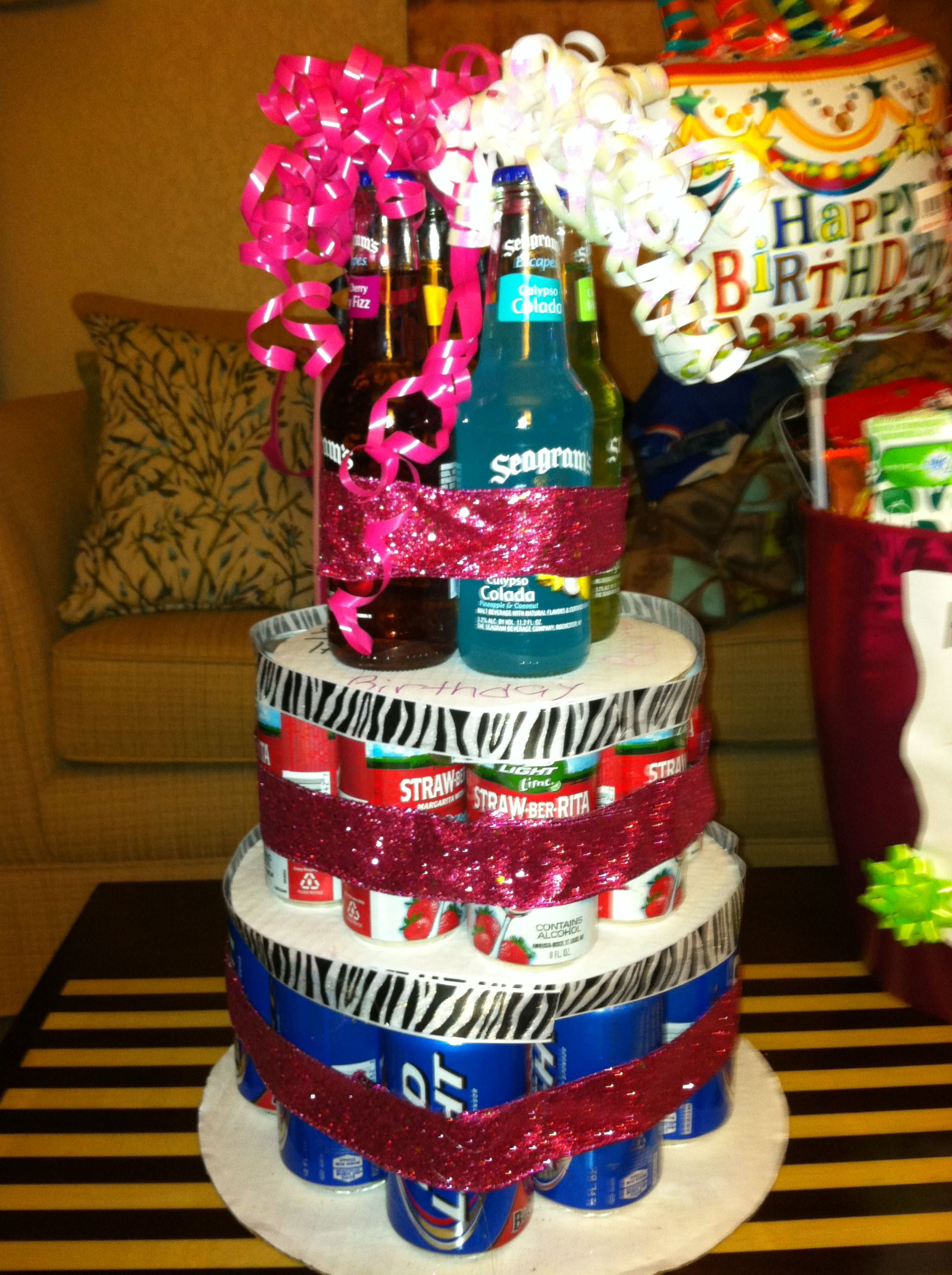 21st Birthday Alcohol Cake