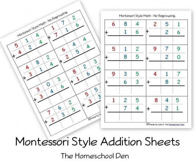 Download our free Montessori-style math practice sheets so