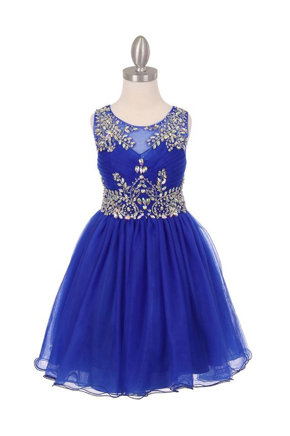 Flower girl dress royal blue tulle with by CreativeCabral on Etsy