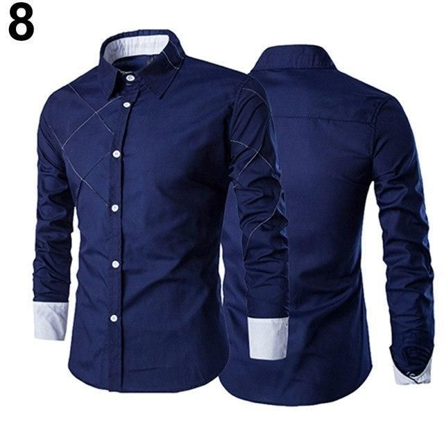 Men Casual Long Sleeve Business Dress Shirt Formal Slim Fit Luxury Solid Tops C9