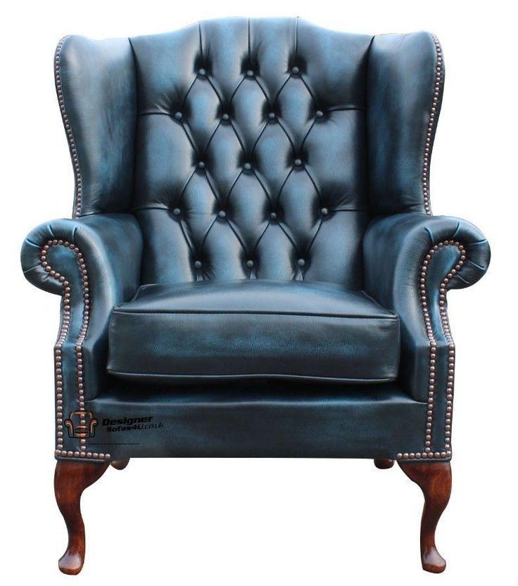 Best Chesterfield Flat Wing Queen Anne High Back Fireside Chair Antique Fireside Chairs Blue 640 x 480