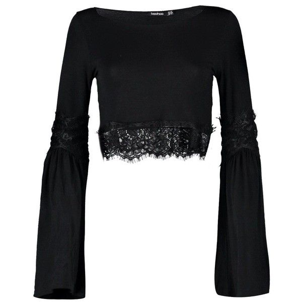 792435ffe5b45 Boohoo Kyra Lace Trim Flare Sleeve Crop (£7.53) ❤ liked on Polyvore  featuring tops