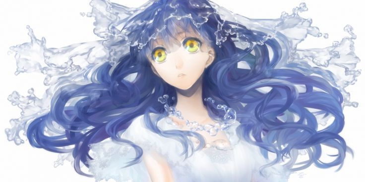 Original Blue Hair Daikichi Maru Long Hair Original White Yellow Eyes Anime Blue Hair Blue Hair Yellow Eyes