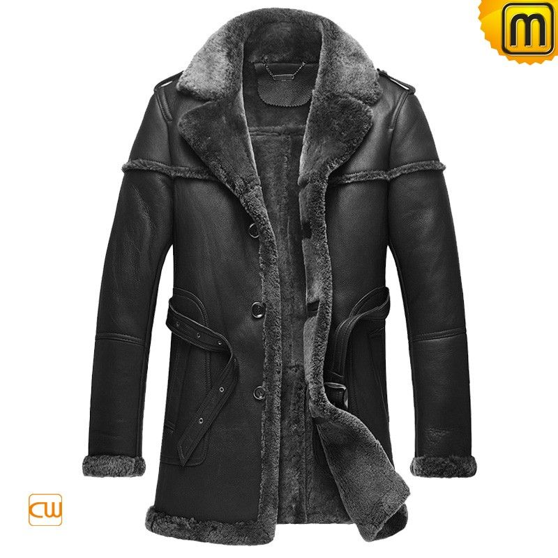 Warmest black shearling fur leather coat for men and trims this ...