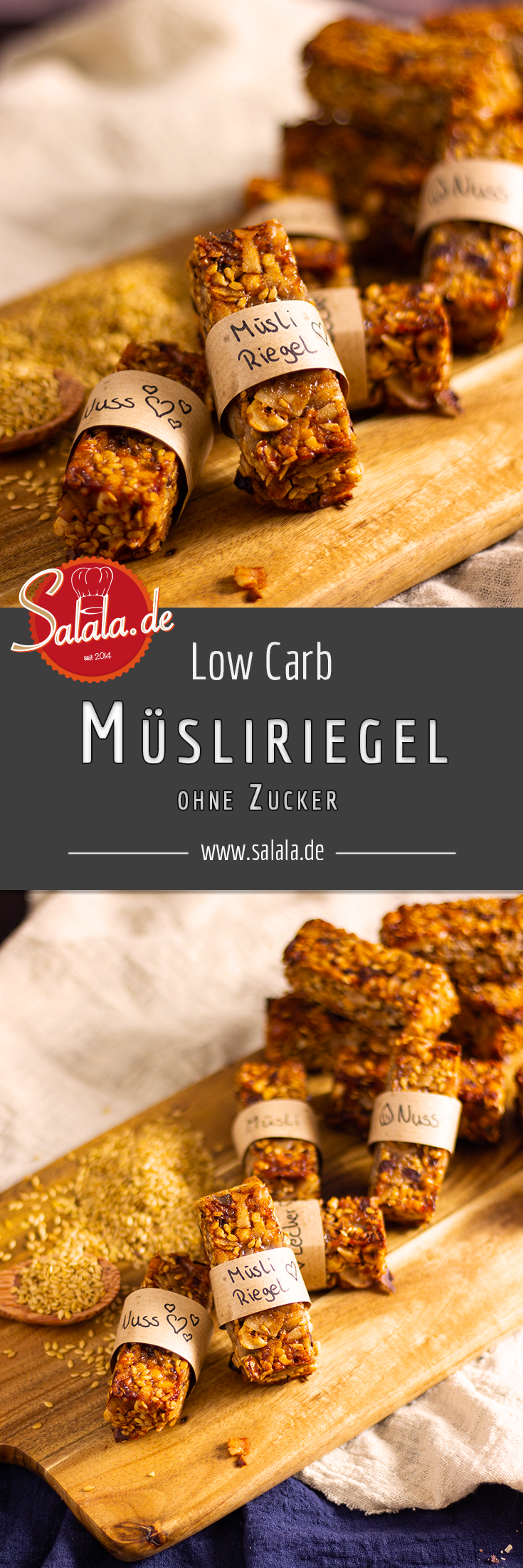 Müsliriegel ohne Getreide | salala.de – Low Carb mit Vroni & Nico #lowcarbdesserts