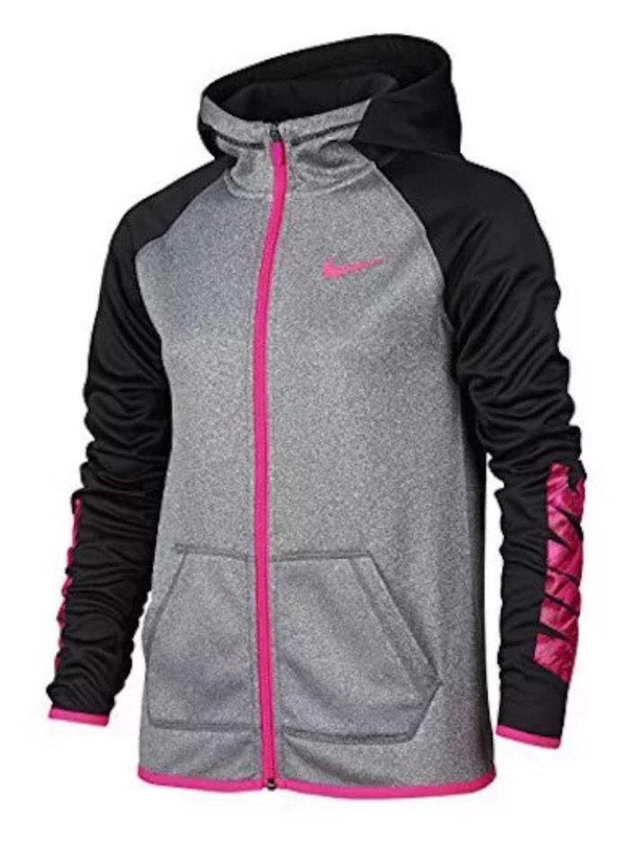 083c1531f8a6 Girl s Nike Therma Dri-Fit Hooded Jacket - Black Gray Pink Size Small