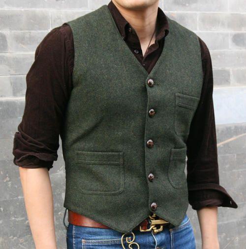 G 252 Nstige Vintage Harris Tweed Stil Weste Gesamten Arbeit