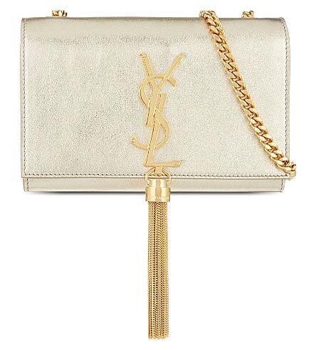 SAINT LAURENT Monogram Small Leather Shoulder Bag. #saintlaurent #bags #shoulder bags #leather #metallic