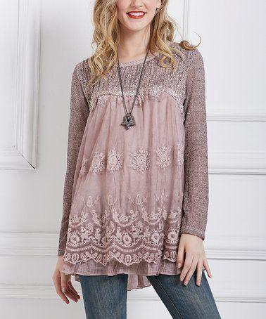 Look at this #zulilyfind! Pink Crochet & Sheer Accent Tunic #zulilyfinds