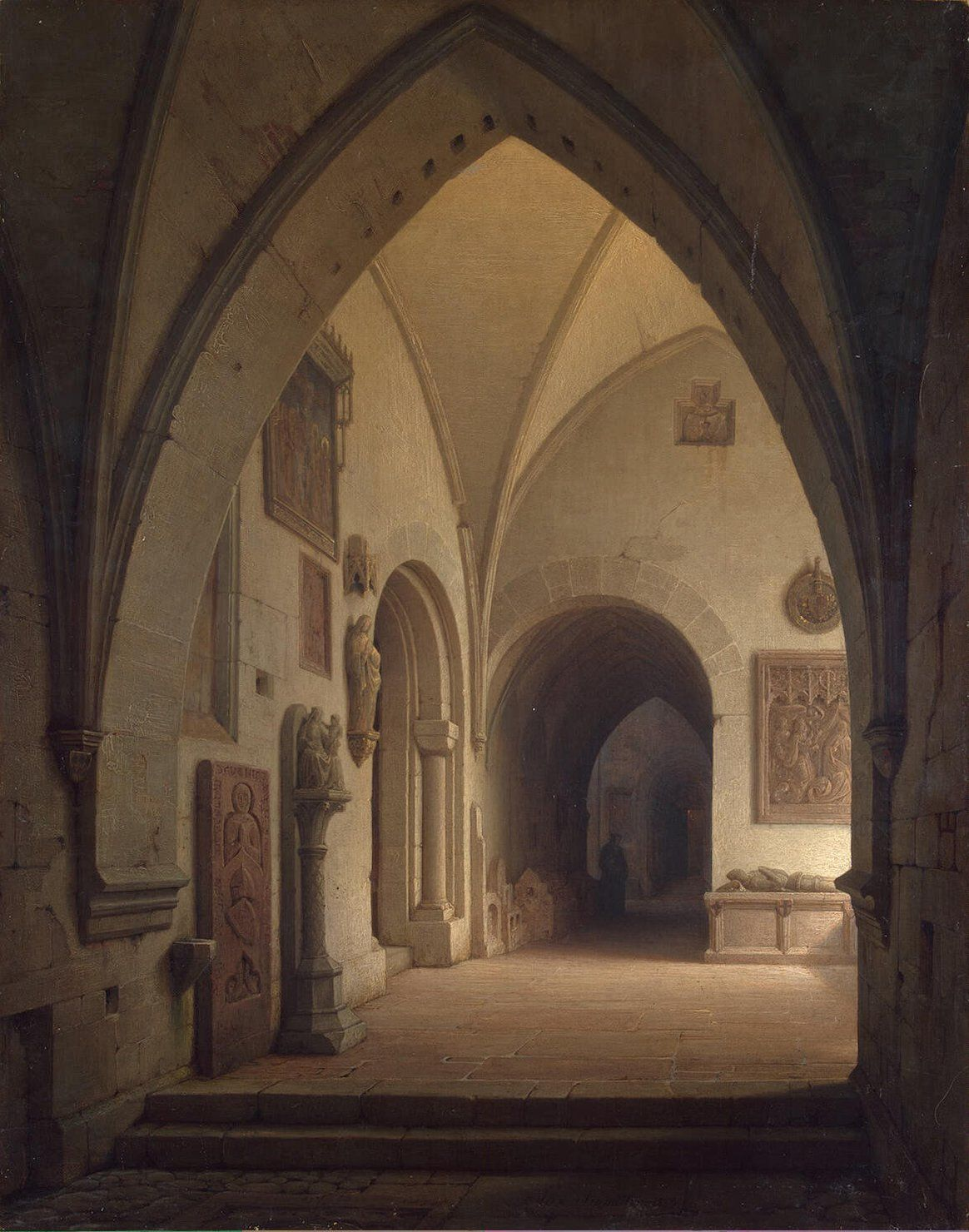 Max Emanuel Ainmiller (1807– 1870).  Interior of a Church, Oil Painting on Canvas, Hermitage Museum