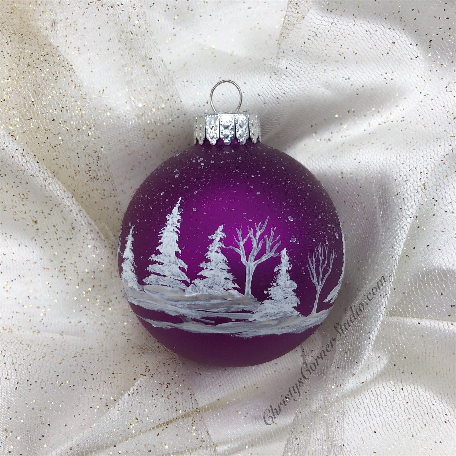 Glass Ornaments Gourd Bottle Handmade Piece Great Gift Purple