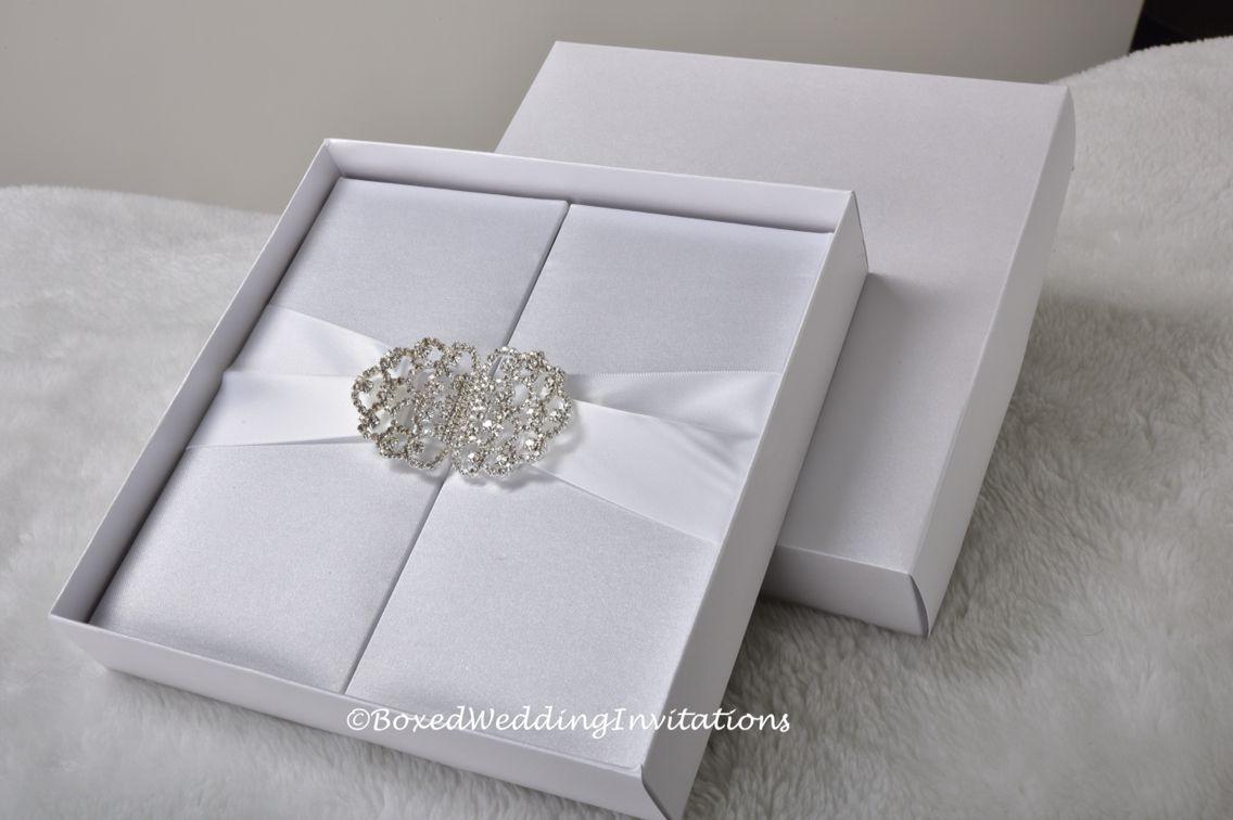 White silk gatefold for your dream wedding. Matching white satin ...