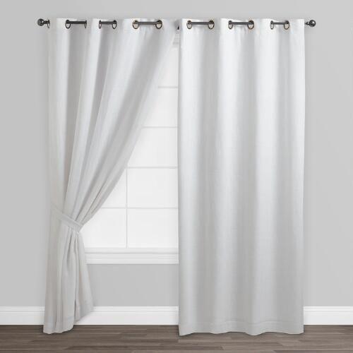 White Linen Grommet Top Curtains, Set Of 2