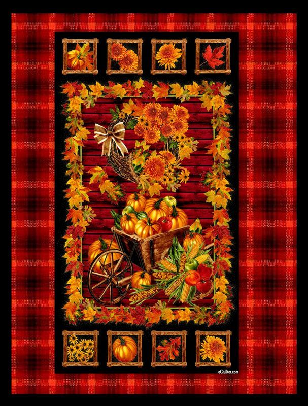 Easy Fabric Panel Quilt Kit Autumn Harvest Fall Leaves Wall Nap ... : quilt panel kits - Adamdwight.com