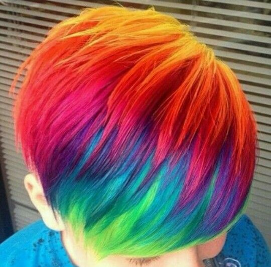 Rainbow Dyed Pixie Cut Hair Hair Rainbow Hair Hair Crazy Hair