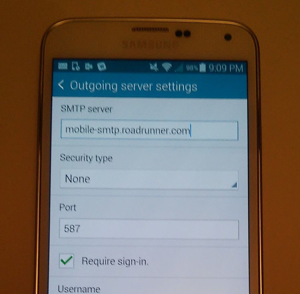 Find roadrunner email account setting on android phone