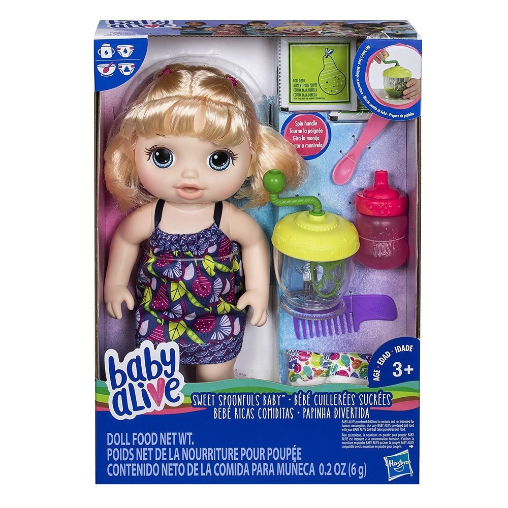 Baby Alive Sweet Spoonfuls Blonde Baby Doll Girl Hasbro Poops And Pees Hasbrobabyalive Dollswithclothingaccessor Baby Alive Food Blonde Babies Baby Deals