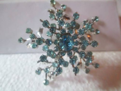 Blue Layered Spray Snowflake Pin Large Rhinestone Vintage | eBay
