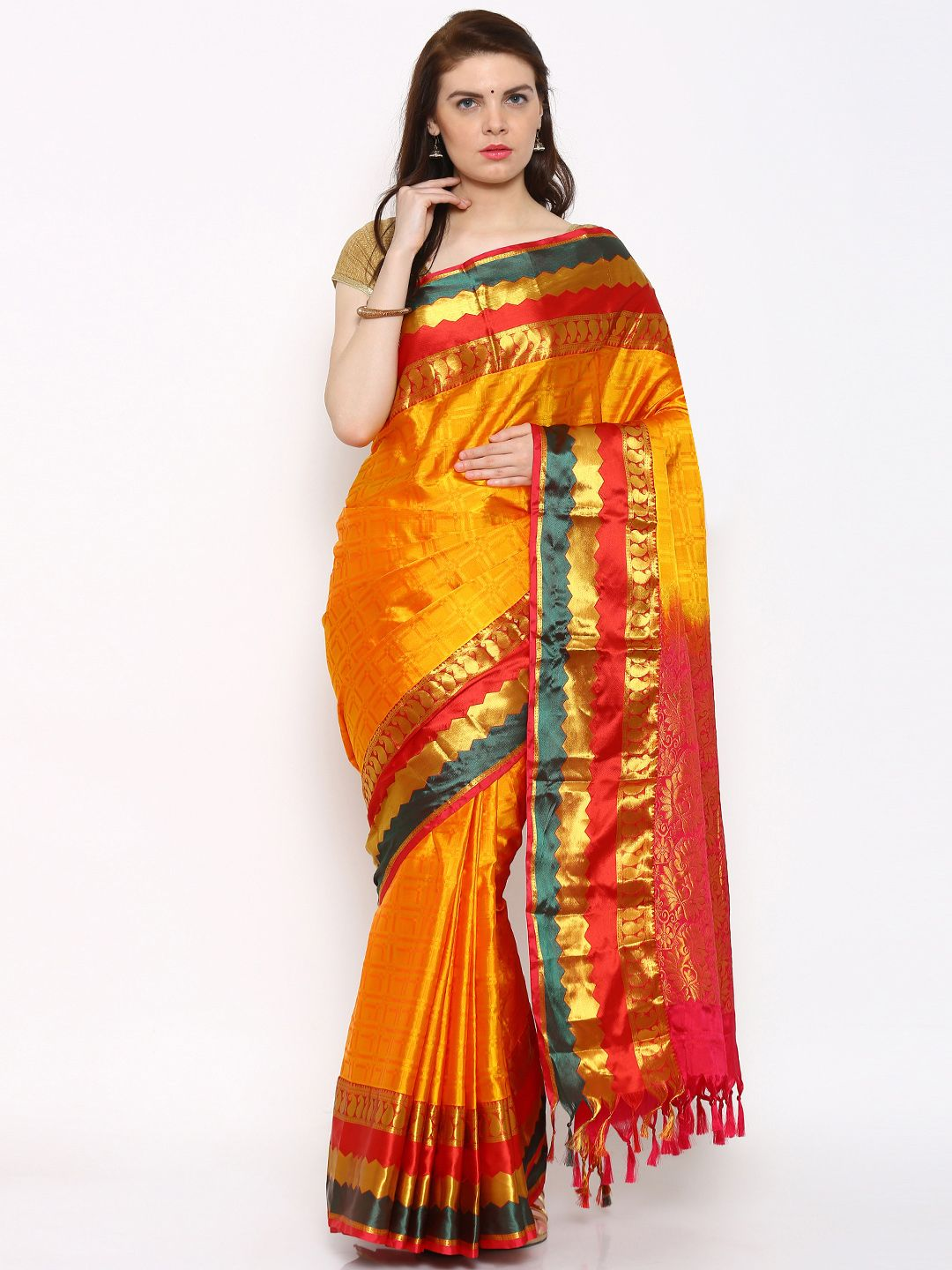 f08b7710a4 The Chennai Silks Classicate Orange Kanjeevaram Silk Saree #Saree ...