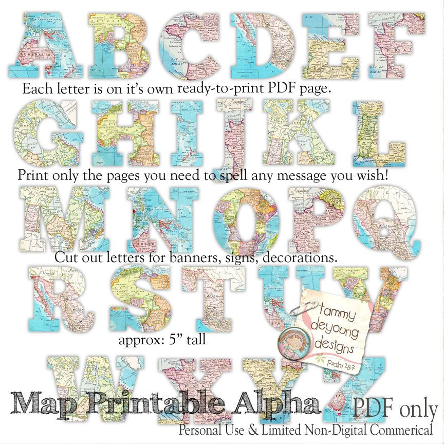 Map Banner Garland Printable, World Map Alphabet, Letters for travel - best of world map fabric bunting