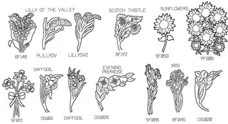 engraved flower designs samples for headstone memorials
