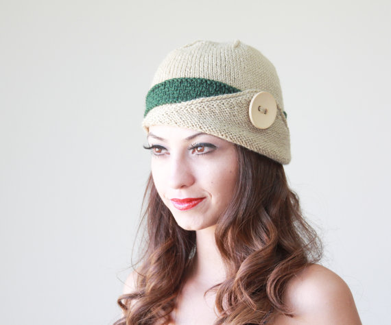 SUMMER SALE - Womens knit hat, Lucy Hat with a button, Green Winter beanie
