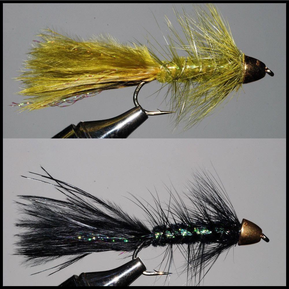 The extra weight used in these Woolly Bugger streamers helps you fish them deeply even when using a floating line. Fish these across stream by stripping them six inches every five seconds for both bas