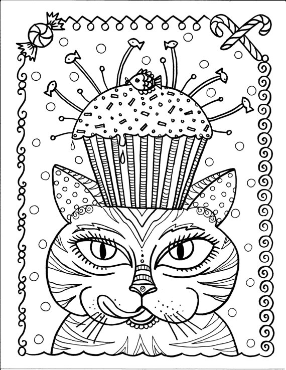 Instant Download Cat and Cupcake Art Coloring Page Cute Fun Funky ...