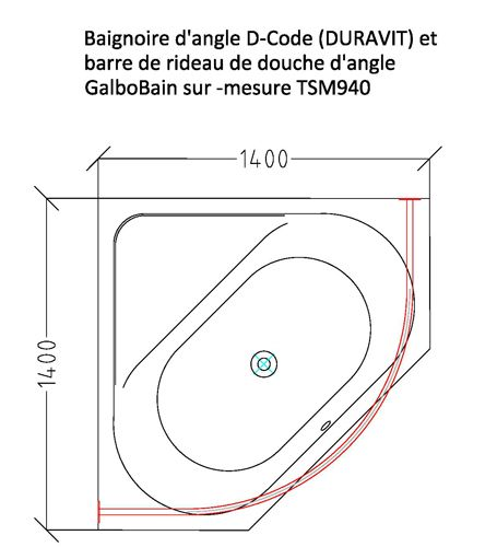 Baignoire d\'angle D-Code de Duravit associée à la barre de rideau de ...