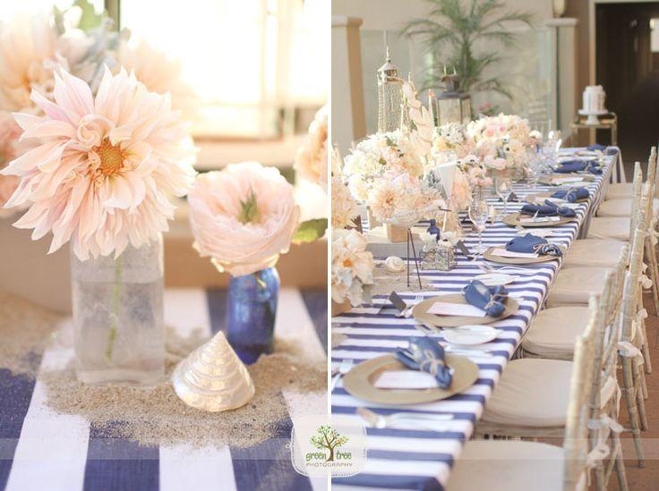 Nautical wedding ideas peach navy color scheme areglo de mesas nautical wedding ideas peach navy color scheme junglespirit Image collections