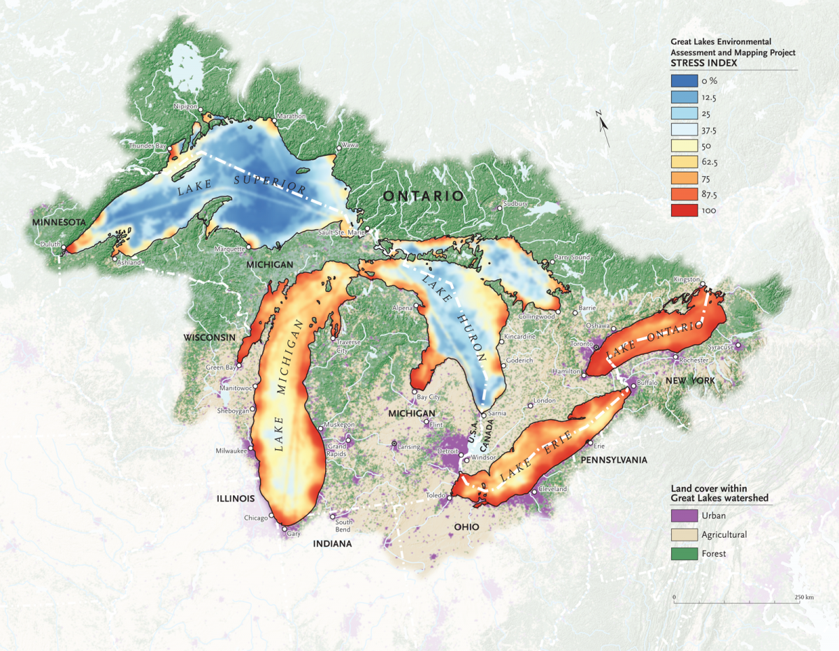 The Human Impact On The Great Lakes Great Lakes Map Great Lakes Map