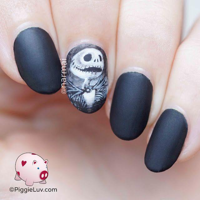 Jack Skellington nail art for Halloween   Gelnägel motive, Gelnägel ...