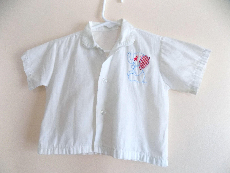 50s Boys Shirt Elephant Button Down 1950s Applique Vintage