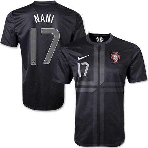 portugal 17 nani black away soccer country jersey only 21.50usd