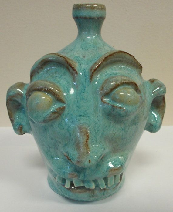 Marvin Baily Small Ugly Face Jug  Unusual Teal by prissyantiques