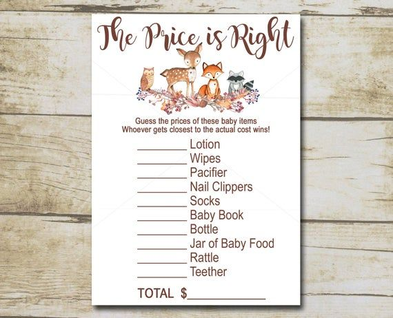 Woodland Baby Shower Game, Price is Right Game, Woodland Forest animals baby shower, Printable Instant Download P01