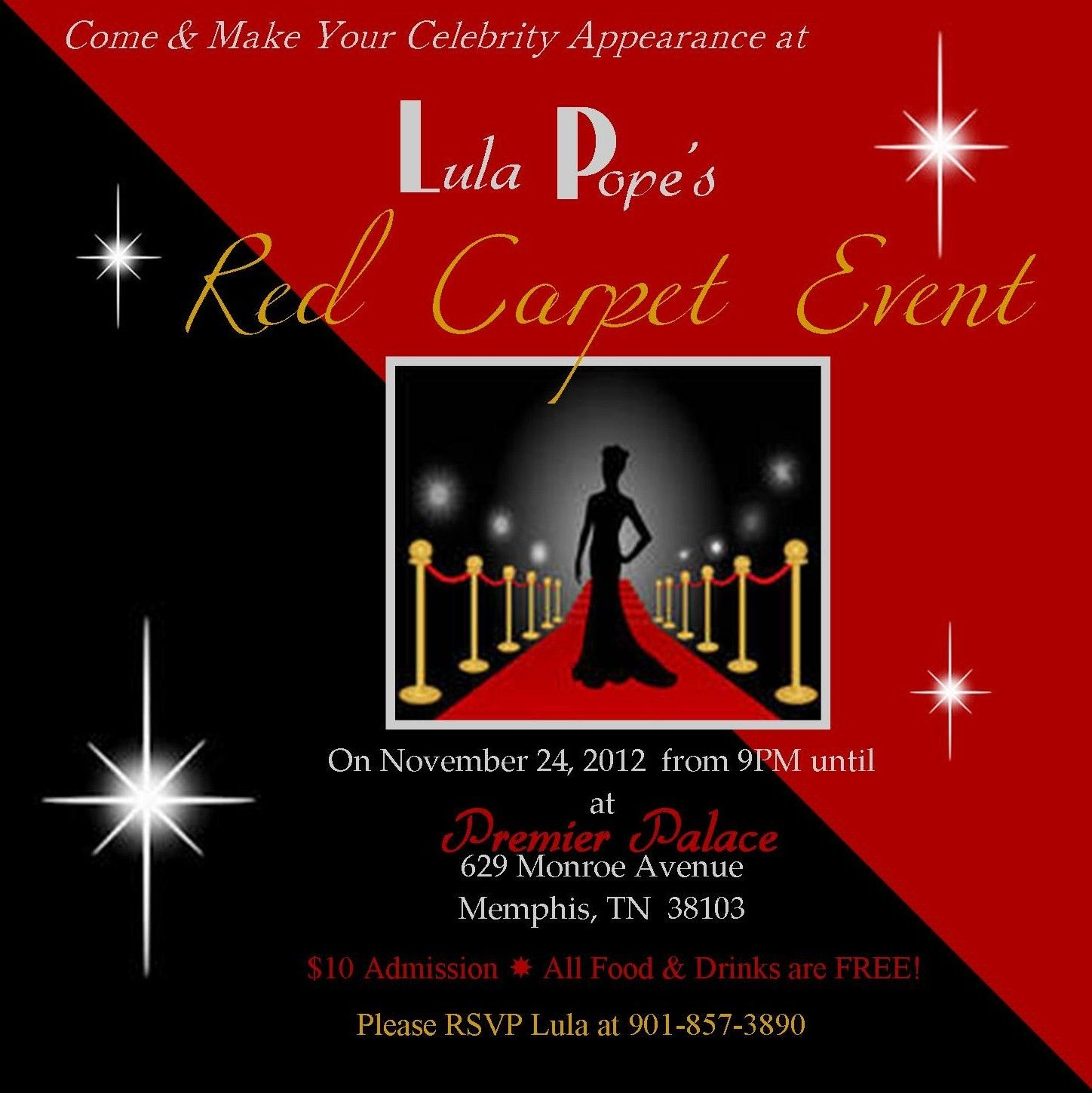 Red Carpet – Hollywood Themed Party Invitations