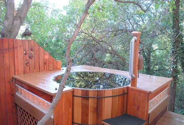 Outdoor Japanese Soaking Tub | outdoor elegance amidst trees forest Hand Crafted Japanese Bath Tubs