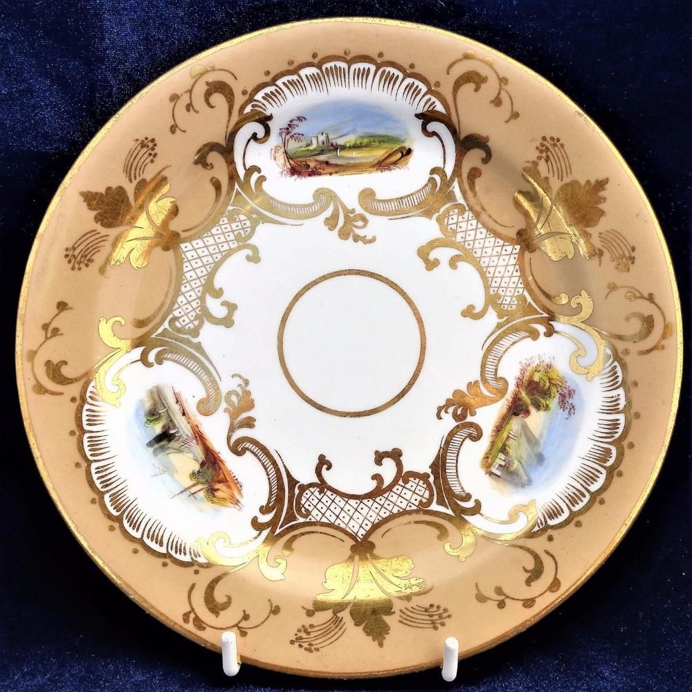 details about antique porcelain plate hand painted castle