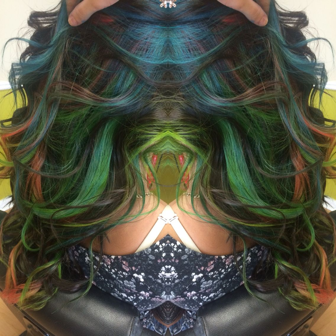 Hair Color Done In Pink Blue Green With A Brown Base Hair
