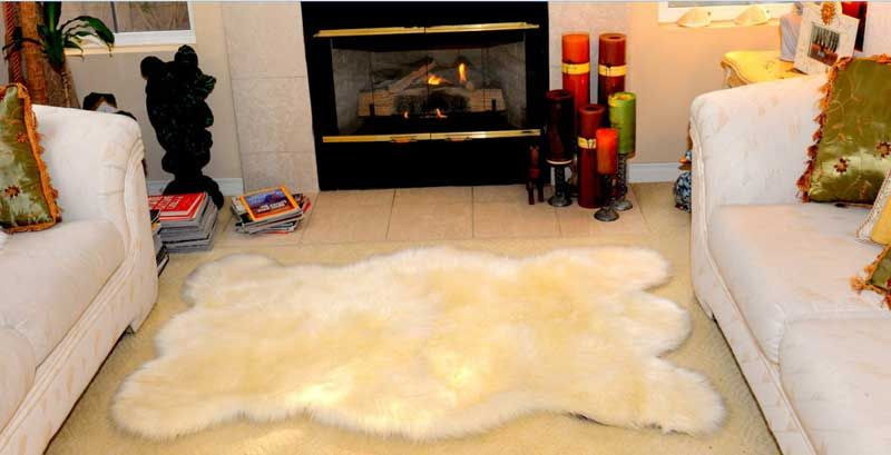 White Bear Skin Rug D In Front Of The Fireplace And