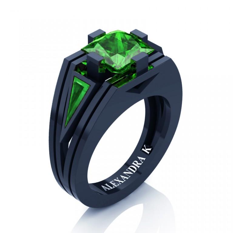 Mens Modern 14k Navy Blue Gold 4 0 Ct Princess And Triangle Emerald Wedding Ring A1006m 14knbgem Emerald Wedding Rings Blue Sapphire Wedding Ring Rose Gold Wedding Band Diamond