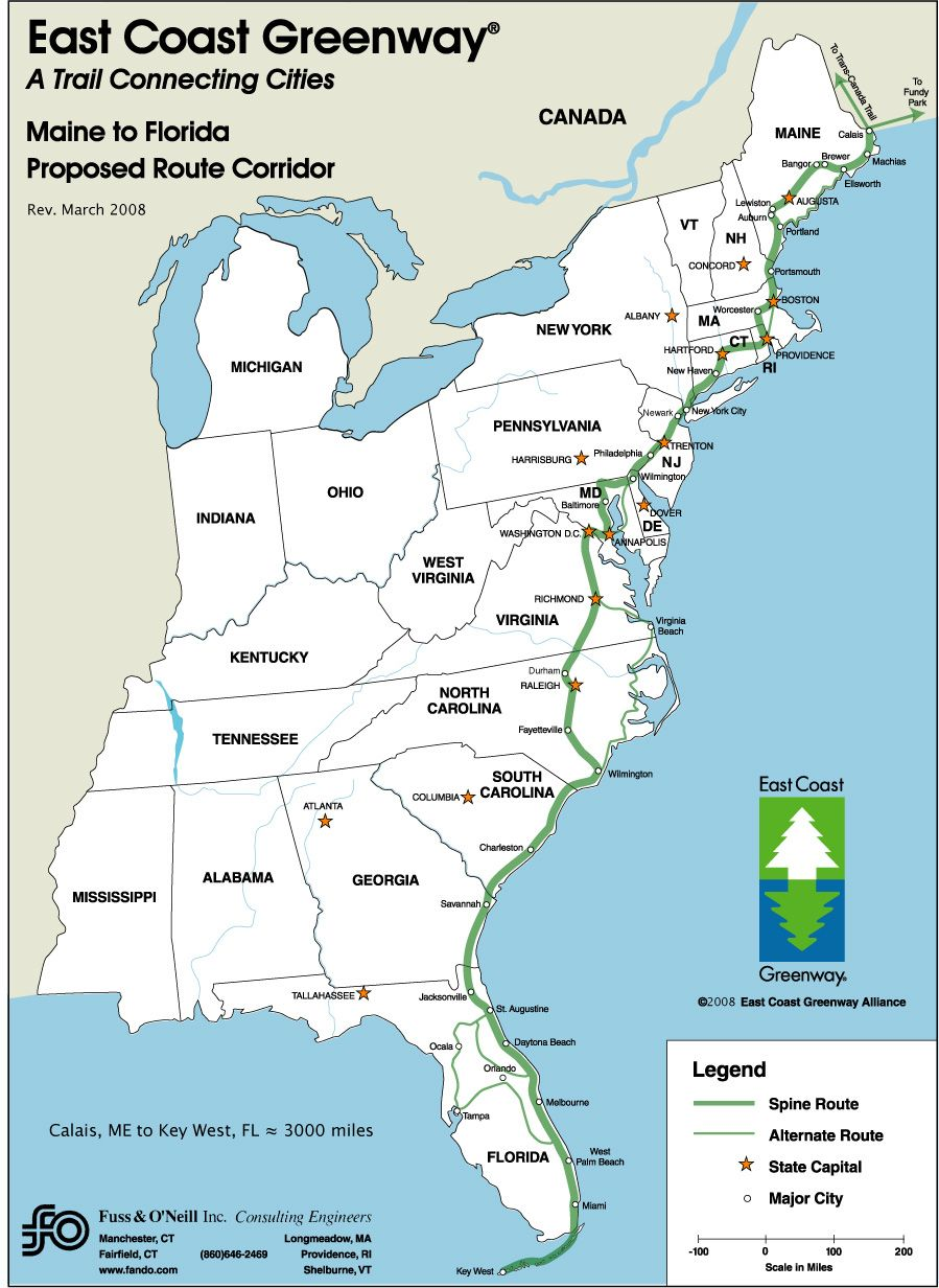 Beaches] Map of eastern us with roads