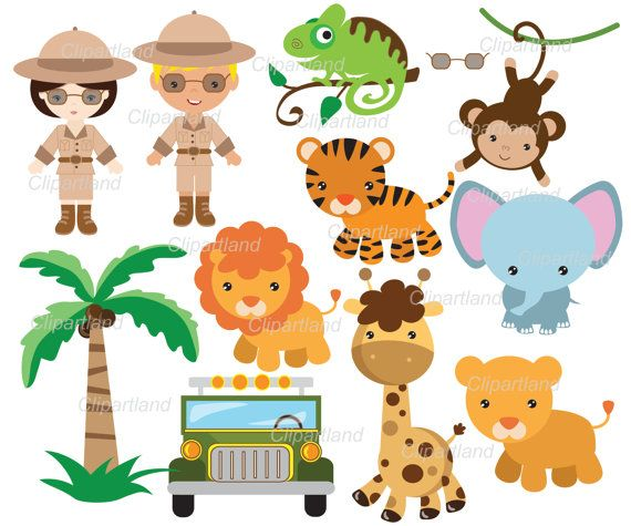 Instant Download Safari Jungle Animals Personal And Commercial Use Zoo Babies Jungle Animals Baby Illustration