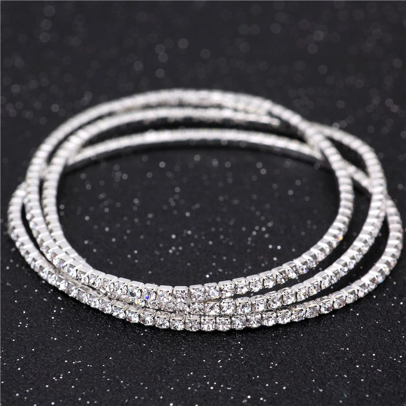 e9957892cef Barato 2.0 mm único linhas de cristal pulseira de noiva 925 Stering prata  cristal strass pulseira