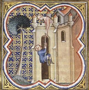 David escapes through window, Petrus Comestor's Bible Historiale, 1372