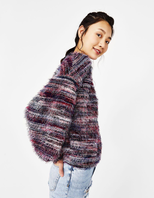 1e9135ffb Bershka United States - Multicolored faux fur sweater