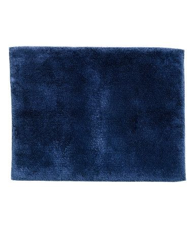 Dark Blue Bath Mat In Thick Cotton Terry With Tape Trim