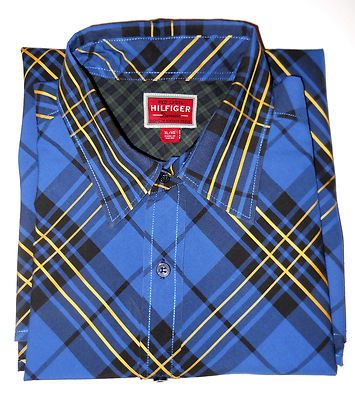 Shirt Men XL Hilfiger Red Label Premium Vintage Denim Series L/S Blue Black Gold