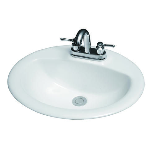 Dolphin Bay Plumbing 20 X 17 White Oval Drop In Sink With